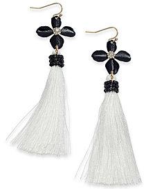 Thalia Sodi Two-Tone Crystal Flower, Bead & Tassel Linear Drop Earrings, Created for Macy's