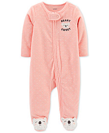 Carter's Baby Girls Beary Sweet Footed Coverall
