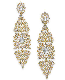 I.N.C. Gold-Tone Crystal & Imitation Pearl Kite Drop Earrings, Created for Macy's