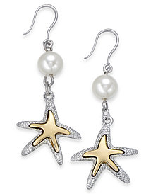 Charter Club Two-Tone Imitation Pearl Starfish Drop Earrings, Created for Macy's