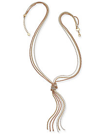 "Charter Club Tri-Tone Multi-Chain Knotted Lariat Necklace, 30"" + 2"" extender, Created for Macy's"