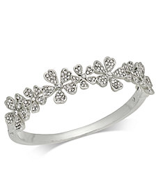 Charter Club Silver-Tone Crystal Flower Bangle Bracelet, Created for Macy's