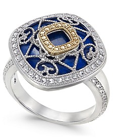 Lapis Lazuli (15mm) Filigree Statement Ring in Sterling Silver & 14k Gold