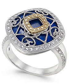 Lapis Lazuli (15mm) Filigree Statement Ring in Sterling Silver & 14k Gold