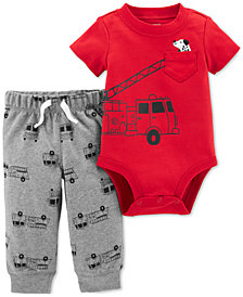 Carter's Baby Boys 2-Pc. Cotton Firetruck Bodysuit & Printed Jogger Pants Set