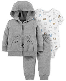 Carter's Baby Boys 3-Pc. Cotton Bear Hoodie, Animal-Print Bodysuit & Pants Set