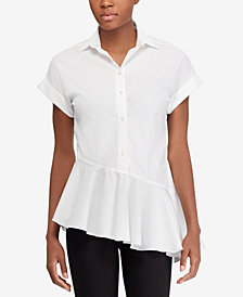 Lauren Ralph Lauren Petite Asymmetrical Ruffled Cotton Shirt