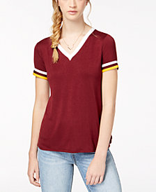 Hippie Rose Juniors' Football Stripe T-Shirt