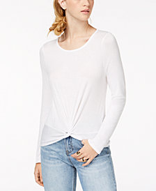 Hippie Rose Juniors' Long-Sleeve Twist-Front Top