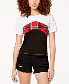 Ultra Flirt by Ikeddi Juniors' Colorblocked Chevron-Stripe T-Shirt