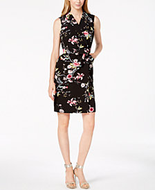 Calvin Klein Petite Belted Floral-Print Wrap Dress