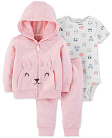 Carter's Baby Girls 3-Pc. Mouse Hoodie, Animal-Print Bodysuit & Pants Set