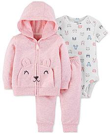 Carter's Baby Girls 3-Pc. Mouse Hoodie, Animal-Print Bodysuit & Pants Set