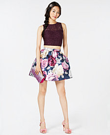 Speechless Juniors' Lace-Contrast Floral-Print 2-Pc. Dress