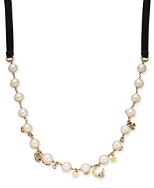 "kate spade new york Gold-Tone Crystal & Imitation Pearl 51"" Velvet Charm Necklace"