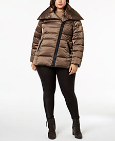 T Tahari Plus Size Asymmetrical Puffer Coat