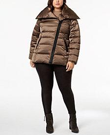 T Tahari Plus Size Asymmetrical Puffer Coat