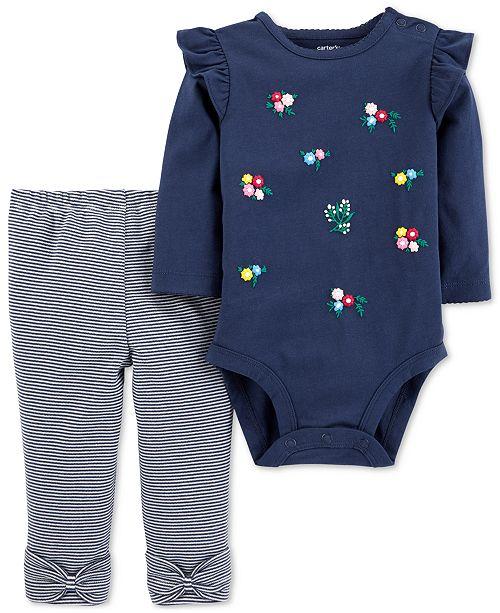 706b780c59 Carter s Baby Girls 2-Pc. Cotton Floral Bodysuit   Striped Pants Set ...
