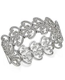 INC Silver-Tone Pavé Openwork Stretch Bracelet, Created for Macy's