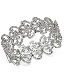I.N.C. Silver-Tone Pavé Openwork Stretch Bracelet, Created for Macy's