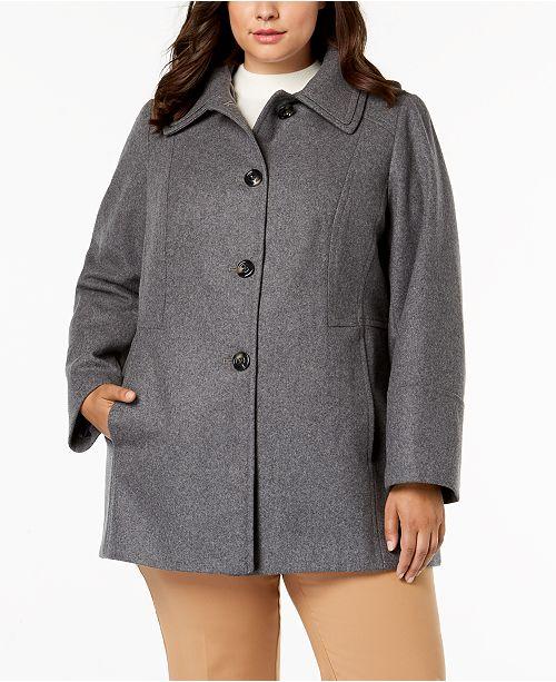 58131ea3b21 London Fog Plus Size Layered-Collar Peacoat   Reviews - Coats ...