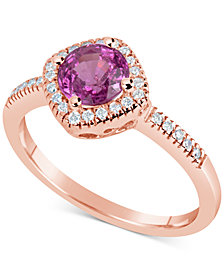 Pink Sapphire (1 ct. t.w.) & Diamond (1/6 ct. t.w.) Ring in 14k Rose Gold