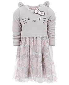 Hello Kitty Little Girls Embroidered Face Dress