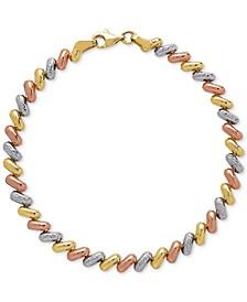 Tricolor Link Bracelet in 14k Gold, White Gold & Rose Gold