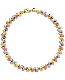 Tricolor Link Bracelet in 14k Gold, White Gold & Rose Gold
