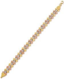 Tricolor Chevron Link Bracelet in 10k Gold, Rose Gold & White Rhodium-Plate