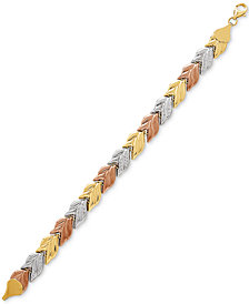 Tricolor Leaf Link Bracelet in 10k Gold, White Gold & Rose Gold