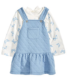 First Impressions Baby Girls 2-Pc. Butterfly-Print T-Shirt & Quilted Jumper Set, Created for Macy's