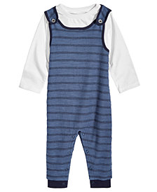 First Impressions Baby Boys 2-Pc. T-Shirt & Striped Overall Set, Created for Macy's
