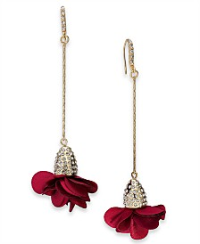 I.N.C. Fabric-Flower Drop Earrings, Created for Macy's
