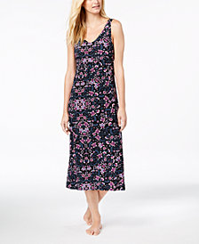 I.N.C. Floral-Print V-Back Nightgown, Created for Macy's