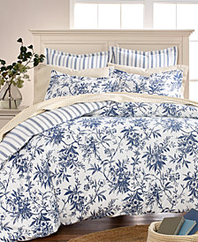 Martha Stewart Collection Cozy Toile Cotton Reversible Full/Queen Duvet Cover, Created for Macy's