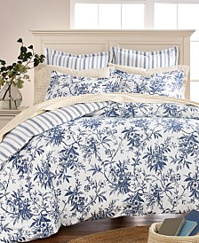 CLOSEOUT! Martha Stewart Collection Cozy Toile Cotton Flannel Full/Queen Duvet Cover, Created for Macy's