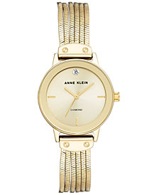Anne Klein Diamond-Accent Gold-Tone Liquid Chain Bracelet Watch 30mm