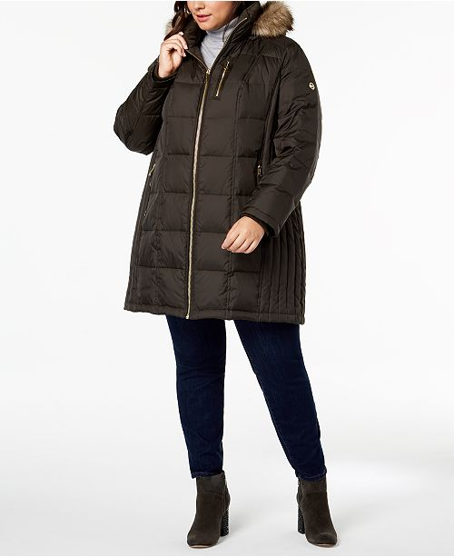 b63a67e8ae2e7 Michael Kors Plus Size Faux-Fur-Trim Puffer Coat   Reviews - Coats ...