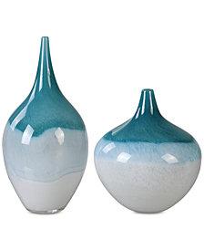 Uttermost Carla Teal White Vases, Set of 2