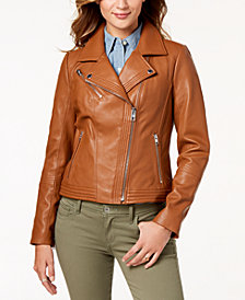 MICHAEL Michael Kors Leather Zipper Moto Jacket