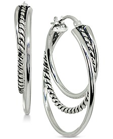 "Small Textured Triple Hoop Earrings in Sterling Silver, 1"", Created for Macy's"
