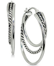 "Giani Bernini Small Textured Triple Hoop Earrings in Sterling Silver, 1"", Created for Macy's"