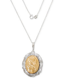 "Giani Bernini Two-Tone Cameo 18"" Pendant Necklace in Sterling Silver & 18k Gold-Plate, Created for Macy's"