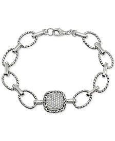 Giani Bernini Cubic Zirconia Pavé Link Bracelet in Sterling Silver, Created for Macy's