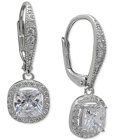 Cubic Zirconia Halo Drop Earrings in Sterling Silver, Created for Macy's