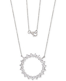"Giani Bernini Cubic Zirconia Teardrop Circle 18"" Pendant Necklace in Sterling Silver, Created for Macy's"