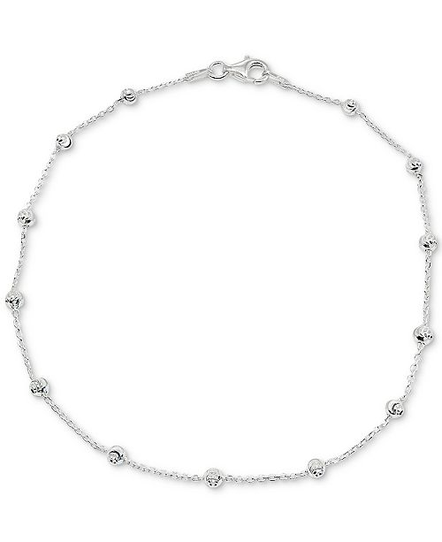 Giani Bernini Textured Bead Station Ankle Bracelet in Sterling Silver, Created for Macy's
