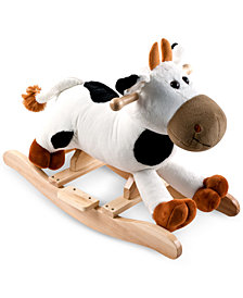 Trademark Global Happy Trails Connie Cow Plush Rocking Animal with Sounds