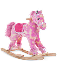 Trademark Global Happy Trails Pink Plush Rocking Pony